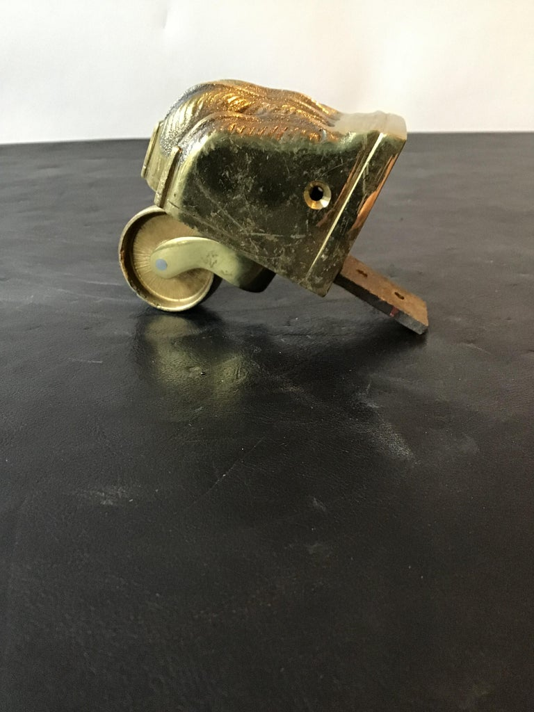 1950s Solid Brass Lion Paw Casters For Sale 3