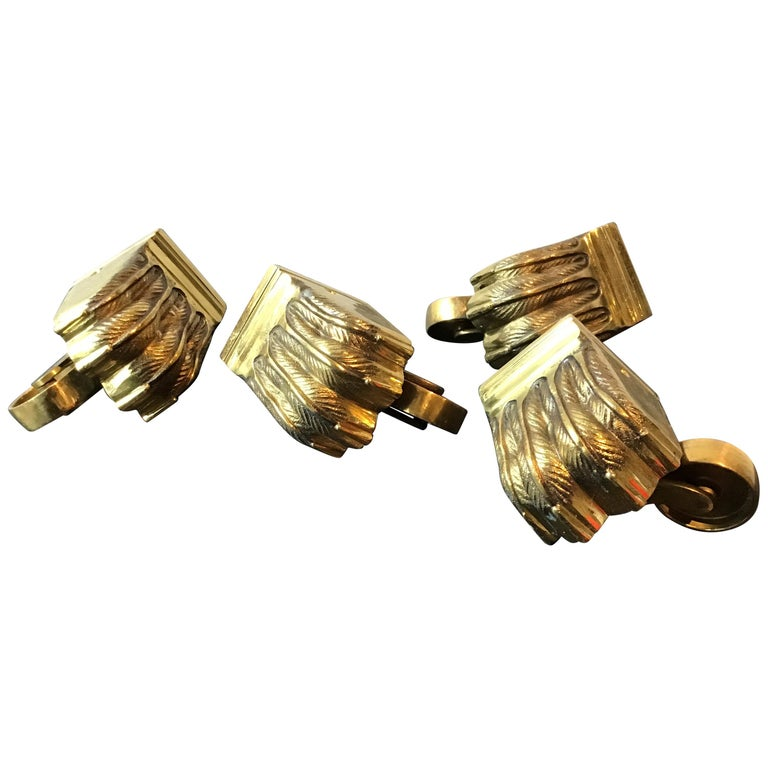 1950s Solid Brass Lion Paw Casters For Sale
