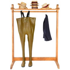 1950s Solid Pine Clothing Rack