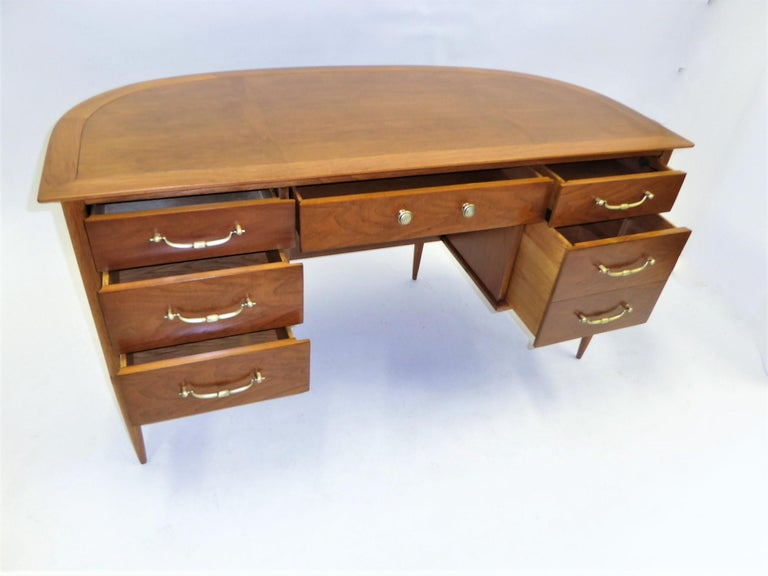 Brass 1950s Sophisticates Walnut Desk by John Lubberts & Lambert Mulder for Tomlinson For Sale