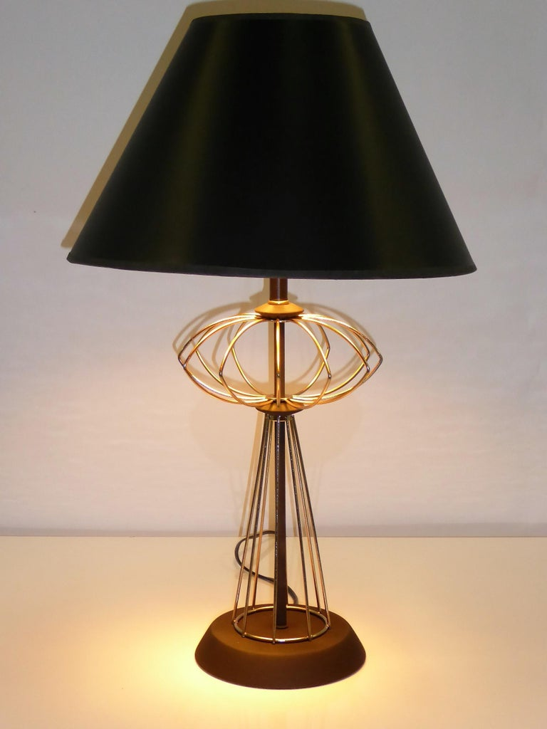 Space Age 1950s Space Atomic Age Table Lamp Brass and Wood For Sale