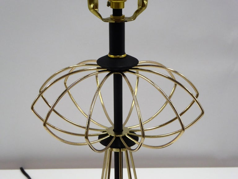 American 1950s Space Atomic Age Table Lamp Brass and Wood For Sale