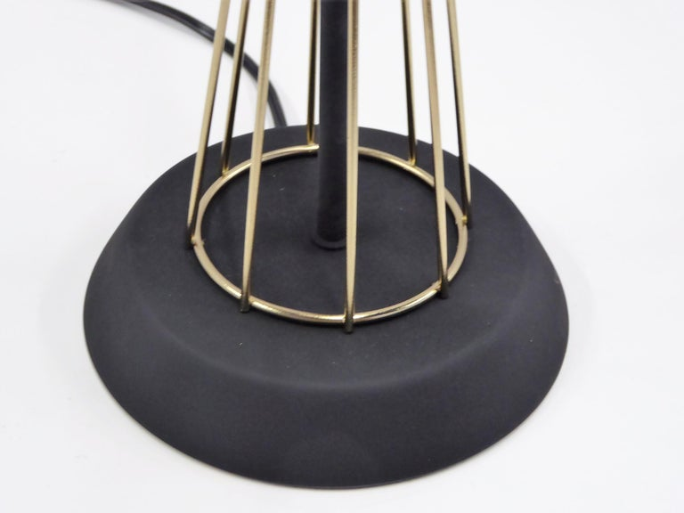 Ebonized 1950s Space Atomic Age Table Lamp Brass and Wood For Sale