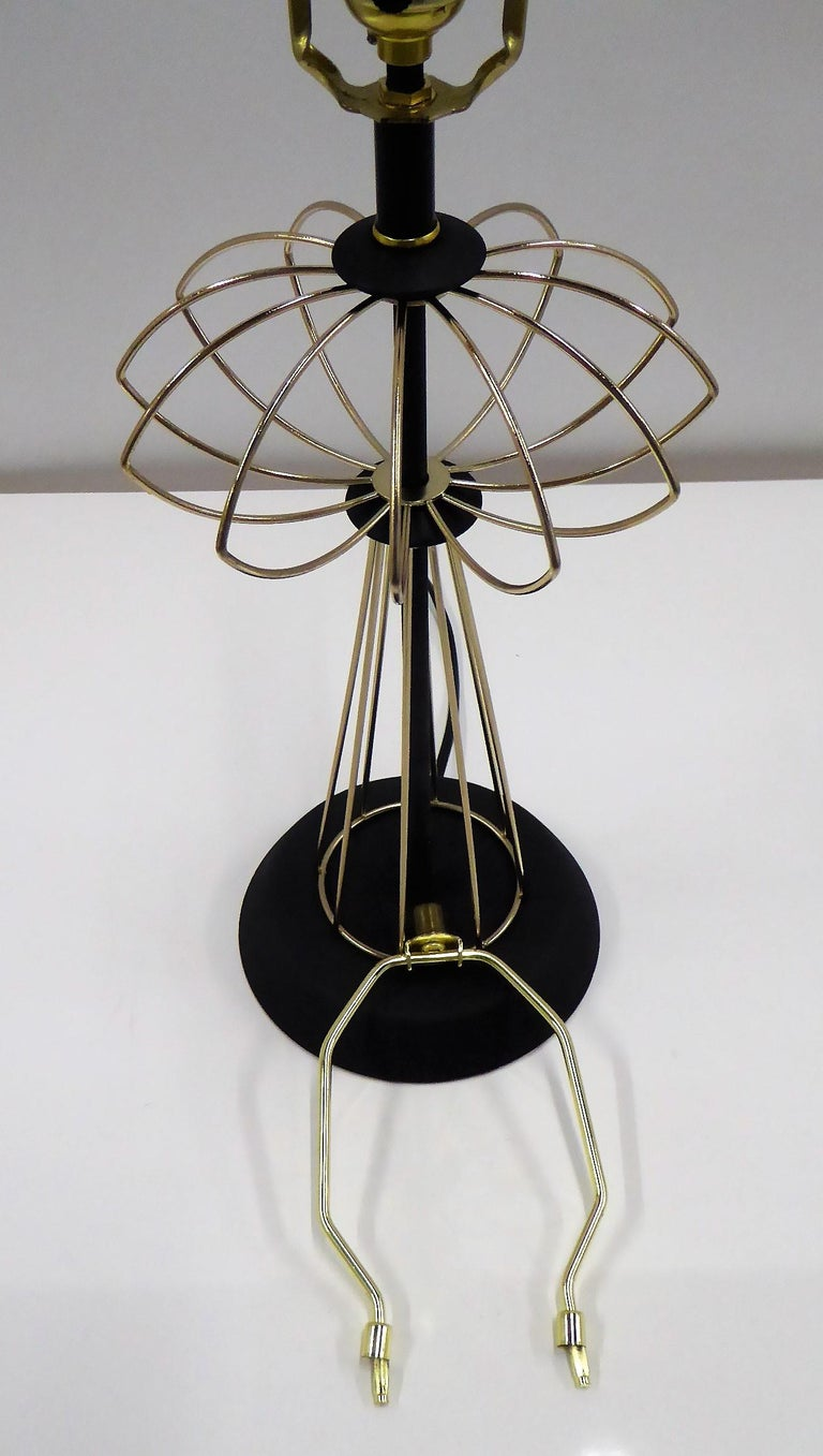 1950s Space Atomic Age Table Lamp Brass and Wood For Sale 2