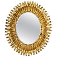 1950s Spanish Brutalist Hammered Gilt Metal Eyelash Oval Sunburst Mirror
