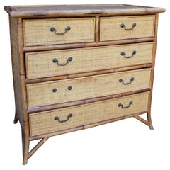 1950s Spanish Cane and Lazed Wicker Chest of Drawers