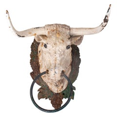 1950s Spanish Cast Iron Hand Painted Bull Head