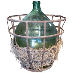 1950s Spanish Glass Blown Wine Demijohn in its Iron Basket Cover