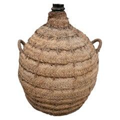 1950s Spanish Glass Demijohn in Hand Woven Esparto Grass Basket