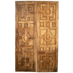 1950s Spanish Hand Carved Elm Wood Paneled Double Door