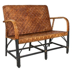 1950s Spanish Handmade Wicker & Wood 2-Seater Sofa