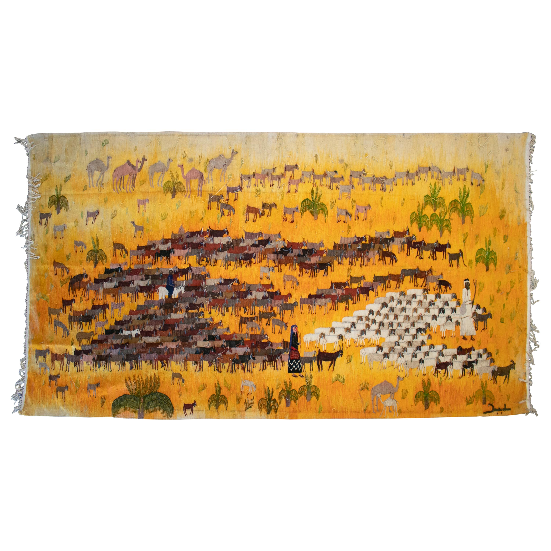 1950s Spanish Hand Woven Tapestry with Shepherd and Animals Scene