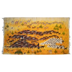 1950s Spanish Handwoven Tapestry with Shepherd and Animals Scene