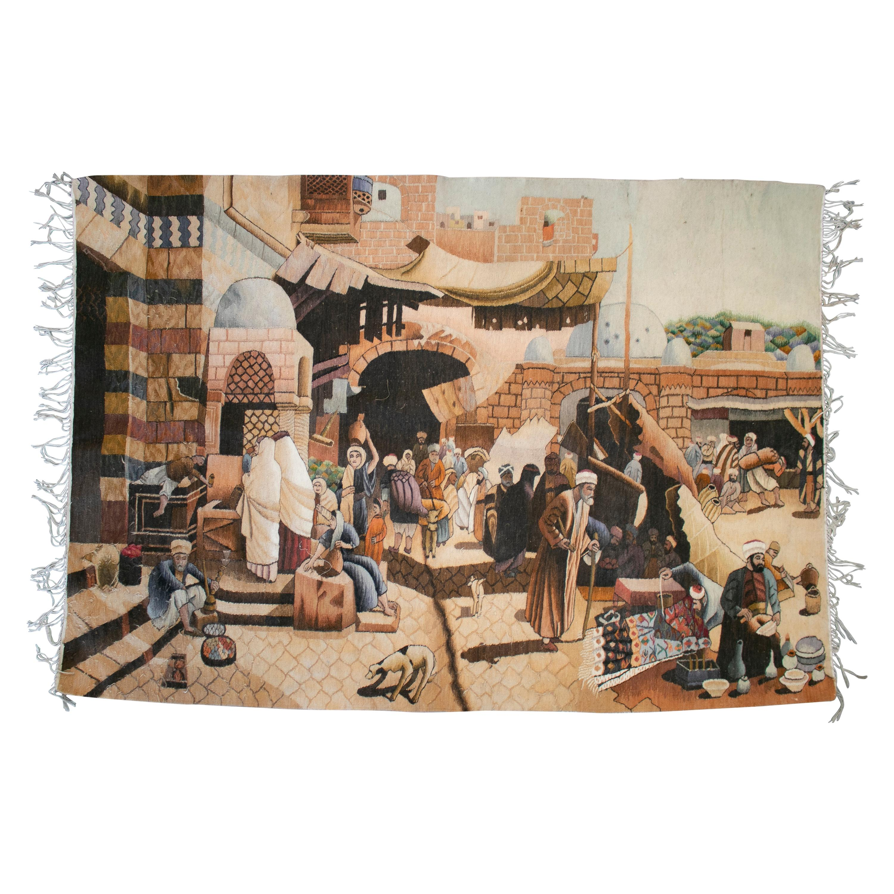 1950s Spanish Hand Woven Wool Tapestry with Arab Market Scene