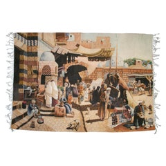 1950s Spanish Handwoven Wool Tapestry with Arab Market Scene