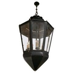 1950s Spanish Iron Garden Hanging Lantern Lamp