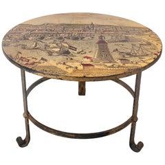 1950s Spanish Iron Round Table w/ Medieval Port Scene