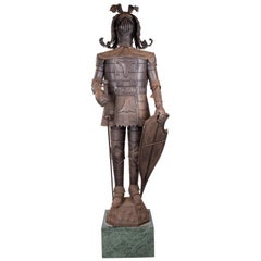 1950s Spanish Iron Suit of Armour on a Green Serpentine Marble Pedestal