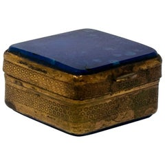 1950s Spanish Lapislazuli Top Trinket Metal Box with Engraved Decoration