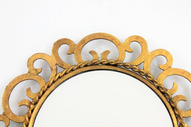 1950s Spanish Mid-Century Modern Gilt Iron Scrollwork Mini Sized Mirror For Sale 6