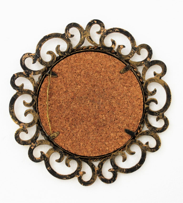 1950s Spanish Mid-Century Modern Gilt Iron Scrollwork Mini Sized Mirror For Sale 7