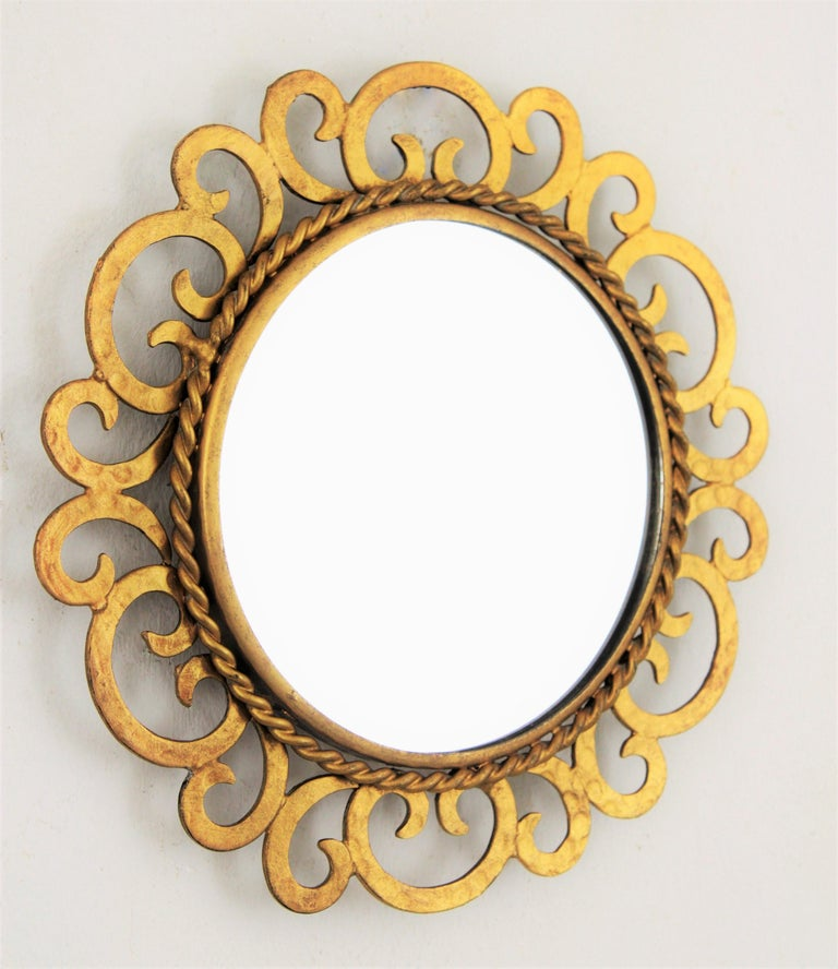 20th Century 1950s Spanish Mid-Century Modern Gilt Iron Scrollwork Mini Sized Mirror For Sale