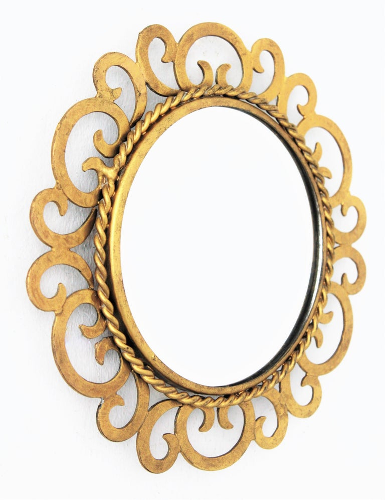 1950s Spanish Mid-Century Modern Gilt Iron Scrollwork Mini Sized Mirror For Sale 1