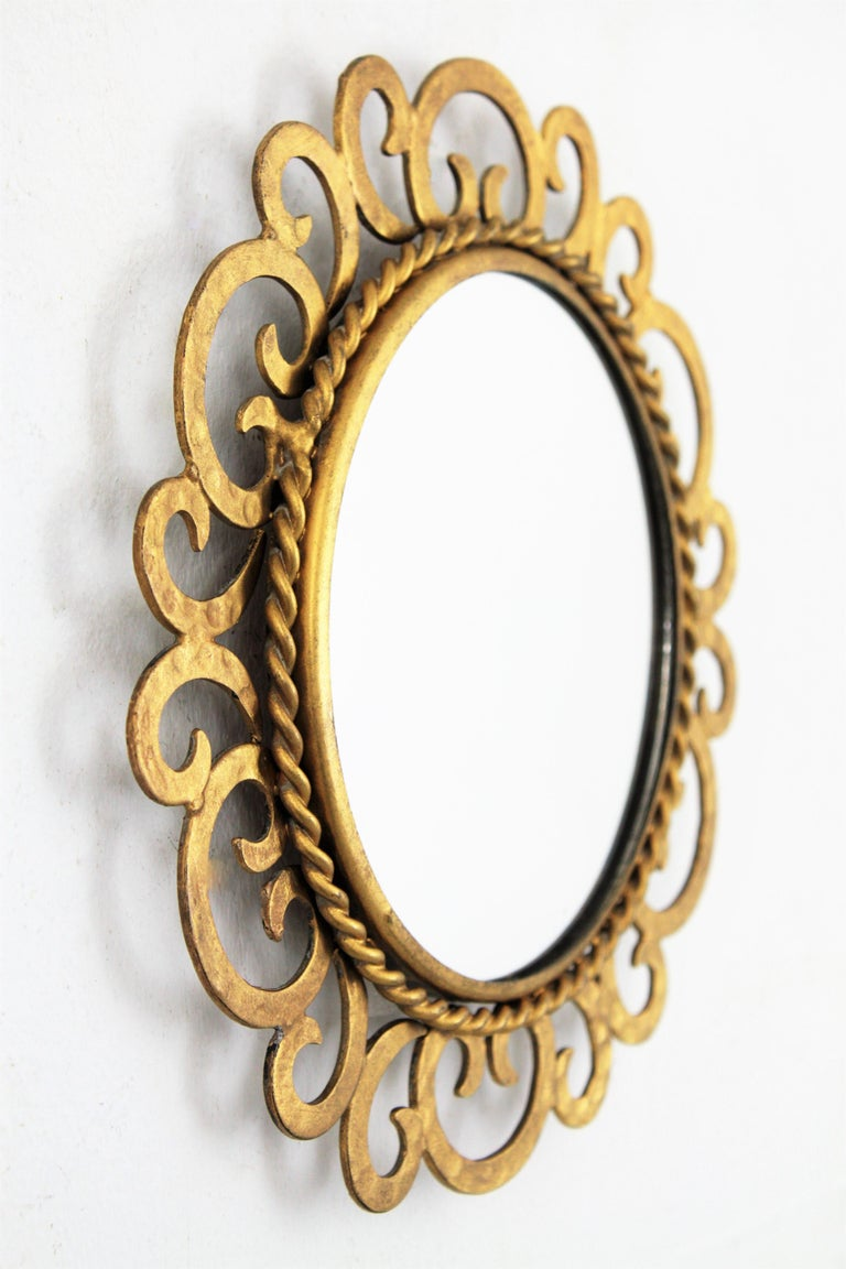 1950s Spanish Mid-Century Modern Gilt Iron Scrollwork Mini Sized Mirror For Sale 2