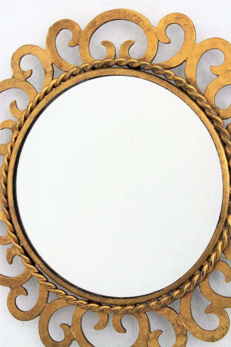 1950s Spanish Mid-Century Modern Gilt Iron Scrollwork Mini Sized Mirror For Sale 3
