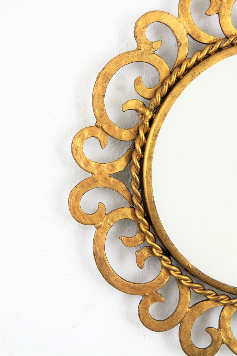 1950s Spanish Mid-Century Modern Gilt Iron Scrollwork Mini Sized Mirror For Sale 4