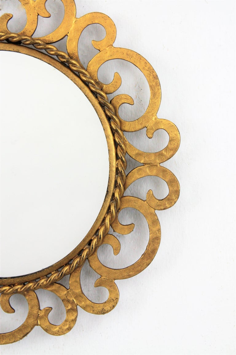 1950s Spanish Mid-Century Modern Gilt Iron Scrollwork Mini Sized Mirror For Sale 5