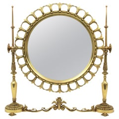 1950s Spanish Neoclassical Style Brass Sunburst Vanity Tabletop Mirror