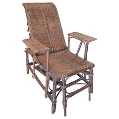 1950s Spanish Outdoor Wicker and Bamboo Arm Chaise-Longue