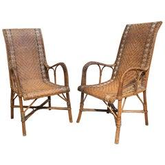 1950s Spanish Pair of Handwoven Wicker Armchairs