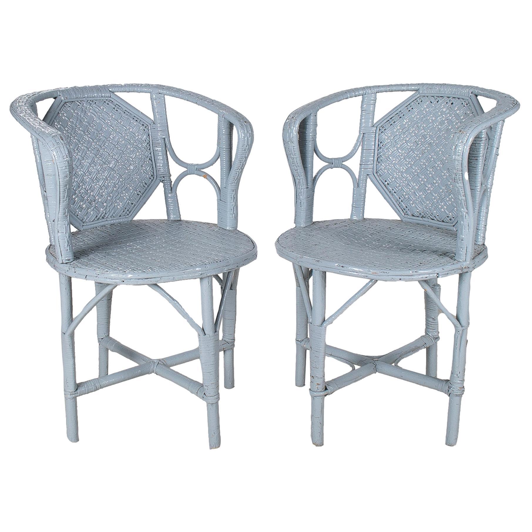 1950s Spanish Pair of White Woven Wicker & Bamboo Armchairs