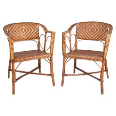 1950s Spanish Pair of Wicker on Wood Frame Chairs