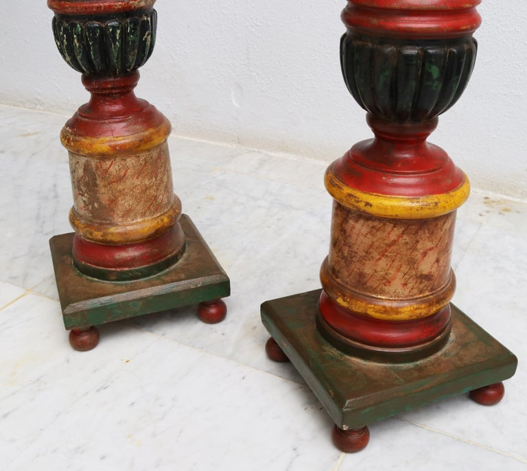 20th Century 1950s Spanish Pair of Wooden Painted Candle Pricket Sticks For Sale