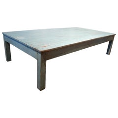 1950s Spanish Rustic Wooden Coffee Table Painted Turquoise Blue