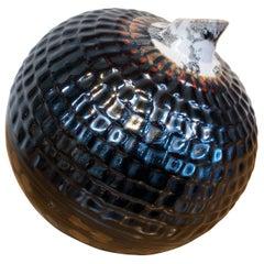 1950s Spanish Spherical Glazed Ceramic Vase in Dark Colors