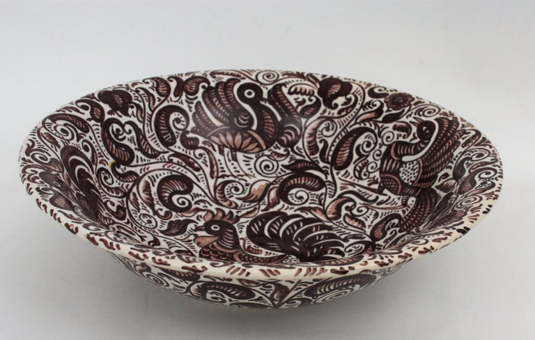 20th Century 1950s Spanish Talavera Glazed Ceramic Large Bowl or Lebrillo in Monochrome Brown For Sale