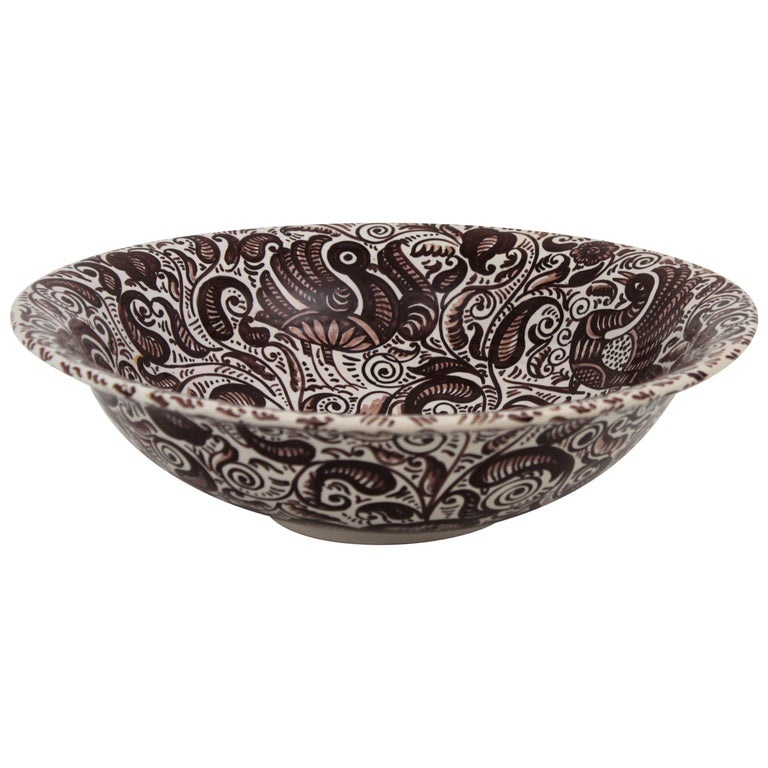 1950s Spanish Talavera Glazed Ceramic Large Bowl or Lebrillo in Monochrome Brown For Sale