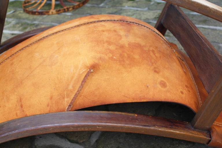 1950s Spanish Wood and Leather Rocking Chair For Sale 9