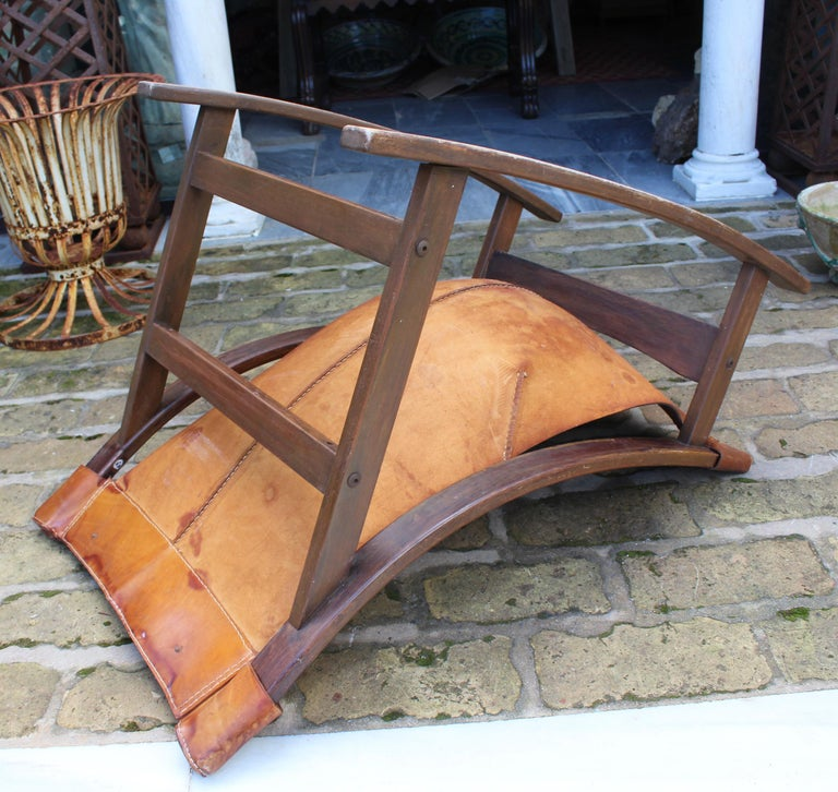 1950s Spanish Wood and Leather Rocking Chair For Sale 3