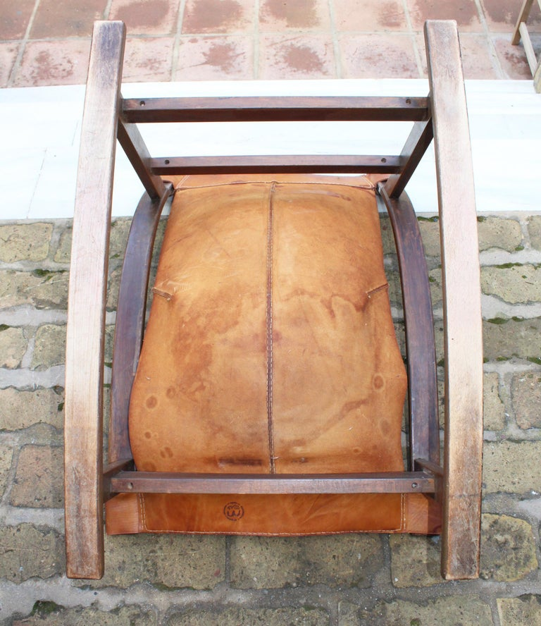 1950s Spanish Wood and Leather Rocking Chair For Sale 4