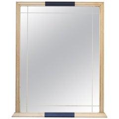1950s Spanish Wooden Wall Mirror with Dark Blue Details