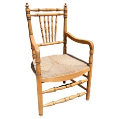 1950s Spanish Woven Rope Bottomed Wooden Armchair w/ Spindle Legs