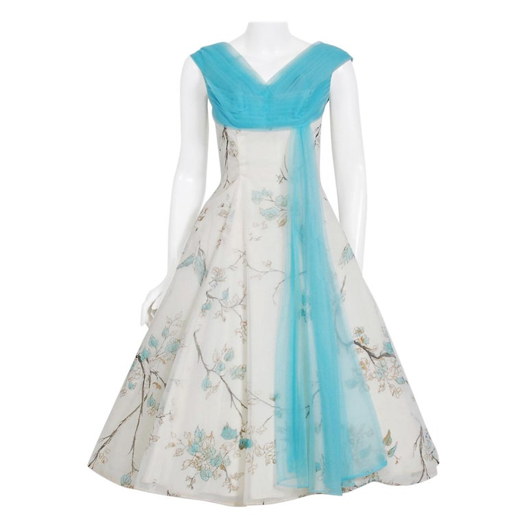 1950's Sparrow Bird Garden Novelty Print Chiffon Pleated Shelf-Bust Full Dress  For Sale