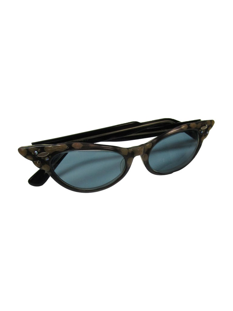 Gray 1950s Spotted and Jeweled Cat Eye Sunglasses   For Sale