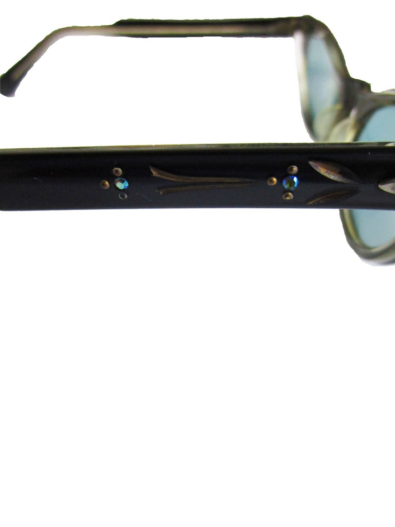 Women's 1950s Spotted and Jeweled Cat Eye Sunglasses   For Sale