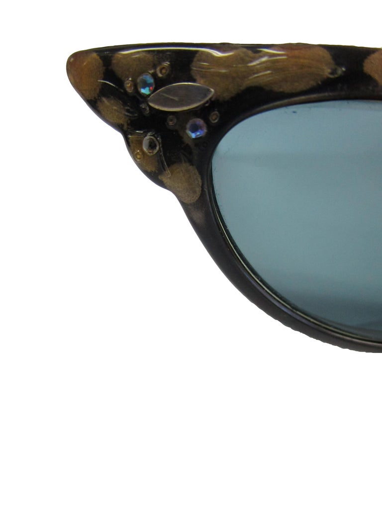 1950s Spotted and Jeweled Cat Eye Sunglasses   For Sale 1